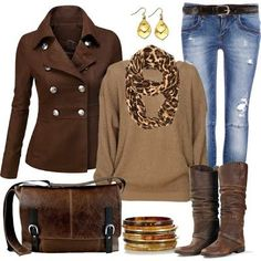 Brown Winter Coat, Nice Sweater with Leopard Scarf, Blue Jeans Brown Handbag and Boots