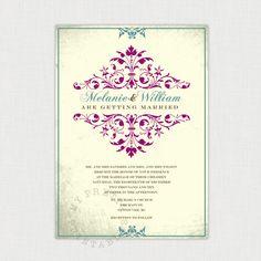 Sonate in purple and teal - You-Print Digital Wedding Invitation. $34.00, via Etsy.