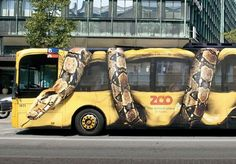 Here is an ad for Copenhagen Zoo. Its an image printed on a bus of a snake attacking the bus. The effects are brilliant and it actually looks quite realistic! The point of this ad is to tempt more members of the public to visit the zoo, aiming more at the public than the commuters that ride the bus as the ad is external to the vehicle.