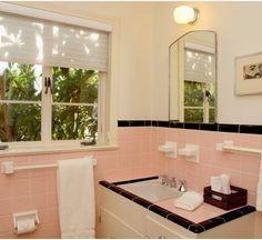 Peach and black tiled bathroom