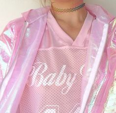 ★ ★ ★ ★ ★ five stars (rainbow choker, pastel pink and white jersey, pastel pink iridescent zip up hoodie)