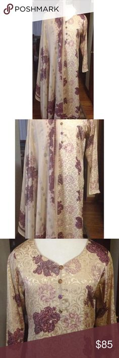 NWOT Large Size Shalwar Kameez Brand new  printed soft silky material    three piece suit include chiffon  dupatta , Kameez and cigarettes pants .  Please ask for the measurements before bidding and buying all sales are finale no return or exchange accepted . Please give us 2 to 3 business days to post it if you need urgently please send us message ASAP . Thank you  Chest 21 Waist 19.5 Hip 22 Sleeves 22 Shoulder 15 Length shirt 46 Pants length 39 Dresses Long Sleeve