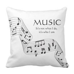 Black and White Music It's Who I Am Observe Pillow.  Find out even more at the image