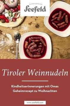 Kindheitserinnerungen gibt es so viele zu Weihnachten, es hängen viele köstliche Gerüche in der Luft. Manche Erinnerungen machen besonders glücklich: Die von Omas Weinnudeln. Weinnudeln mit Glühwein oder für Kinder mit Beerensaft sind ein echtes und traditionellen Tiroler Rezept zur Weihnachtszeit. Daher gibt's hier Omas Geheimrezept zum Nachkochen. Österreich Rezepte - Österreichische Küche - Tiroler Küche #blog Olympia, Blog, Fried Apples, Blackberries, Childhood Memories, Blogging