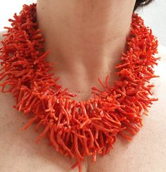 The item was made of cotton yarn. Coral Accessories, Coral Jewelry, Red Coral, Turquoise, Crochet Beach Dress, James Jewelry, Chicos Jewelry, African Trade Beads, Festival Outfits
