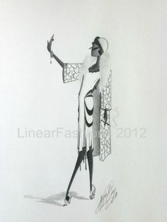 1920s fashion illustrations | RESERVED Fashion Illustration 1920s Flapper Winter Art Christmas Gift ...