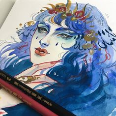 """Here's the watercolour """"sketch"""" print for Patreon supporters this month. Inspired by Gaultier's show where he experimented with religious iconography. Pretty Art, Cute Art, Audra Auclair, Art Puns, Wonder Art, Sketchbook Inspiration, Watercolor Sketch, Art Day, Art Inspo"""