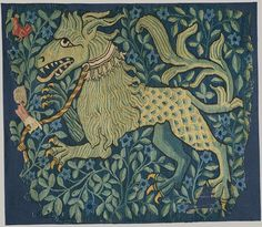A fragment of a tapestry, ca. 1420–30. German (Upper Rhineland; Basel). This fragment of a weaving, or 'Rücklaken'—a tapestry hung in a domestic interior at frieze level—represents a fabulous composite beast, part horse and part lion, wearing a collar ornamented with small bells that is attached to a leash held by a hand, visible at the left, which is now all that remains of a missing figure