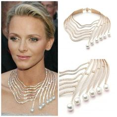 HSH Princess Charlene wears Tabbah's bespoke Infinite Cascade Necklace at her marriage to HSH Prince Albert II of Monaco. The necklace is made of 18K Rose gold necklace set with diamonds and pearls; 1,237 white, round and baguette shaped diamonds; and 6 pear-shaped white pearls.