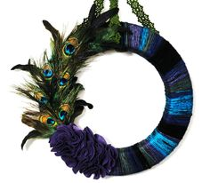 Peacock Yarn Wreath 18 inch by AprilGetsCrafty on Etsy.