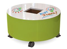 A mobile whiteboard table perfect for children to draw, write stories or collaborate. Easy to move and lock in place. Center well provides a tidy place for markers. Available with colored laminate or Maple veneer sides.