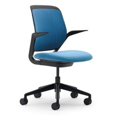 Cobi-Chair-by-Steelcase-Black-Frame-and-Base-Fixed-Arms-Carpet-Casters-Blue-Jay-0