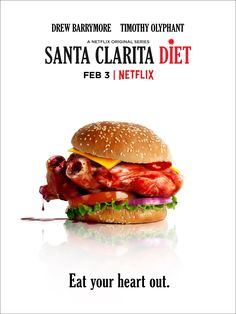Trailer, featurette, images and posters for Netflix's new horror comedy series SANTA CLARITA DIET starring Drew Barrymore and Timothy Olyphant. Drew Barrymore, Netflix Santa Clarita Diet, Frankie Shaw, Dramas, Tv Series 2017, Workout Routines For Beginners, Timothy Olyphant, Eat Your Heart Out, Diet Humor