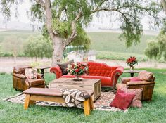 Rustic red reception lounge