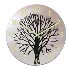 silver and black tree wall clock