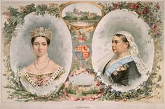This set of portraits, depicting Queen Victoria at the beginning of her reign in 1837 and at her 50th anniversary on the throne, was created for the Golden Jubilee celebrations held in June 1887. Besides the twin portraits, the artwork, created for a newspaper supplement, also depicted two favorite residences of Queen Victoria, Balmoral Castle in Scotland and Windsor Castle.