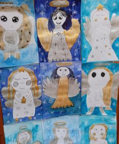 Christmas Art Projects, Christmas Crafts For Kids, Christmas Angels, Christmas Cards, Art Drawings For Kids, Art For Kids, Advent, Winter Thema, Doki