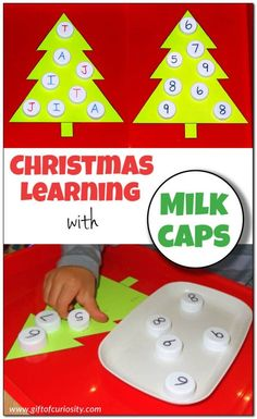 Christmas learning with milk caps: You can use milk caps to help kids learn letters and numbers, or adapt this activity to help kids learn other key skills as well! This is a fun and hands-on Christmas learning activity! || Gift of Curiosity