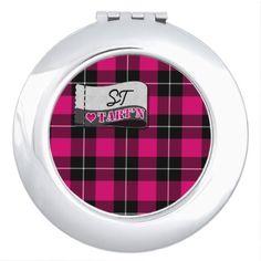 Love Tartan Monogram Pink Vanity Mirror