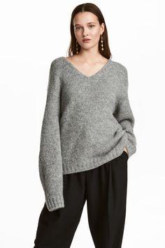 Knitted wool-blend jumper - Grey - Ladies | H&M GB