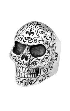 Mens Engraved Skull Ring | Engraved Scrollwork Rings For Men - King Baby
