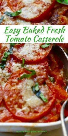 Easy Baked Fresh Tomato Casserole is a delicious and healthy, family-friendly, vegetable side-dish, recipe which is full Healthy Recipes, Vegetable Recipes, Vegetarian Recipes, Cooking Recipes, Tomato Dishes, Veggie Dishes, Appetizer Recipes, Dinner Recipes, Fresh Tomato Recipes