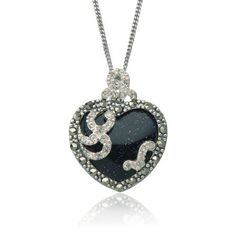 """Sterling Silver Marcasite and Blue Gold Stone Heart Pendant,18"""": Jewelry: Amazon.com"""
