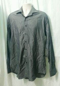 Mens-TaylorByrd-Dress-Shirt-Gray-Striped-XLT-EUC-100-Cotton-long-Staple-2-Ply