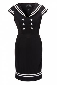 Bunny - 50s Horizon Nautical pencil dress in White Black, nu helemaal van mij! :)