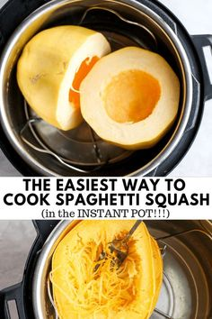 The Best Way to Cook Spaghetti Squash (Instant Pot Method) - a fool-proof way to cook your spaghetti squash (Whole or Halved) #instantpotspaghettisquash #howtocookspaghettisquash #spaghettisquashrecipes #bestwaytocookspaghettisquash #instantpotspaghettisquash