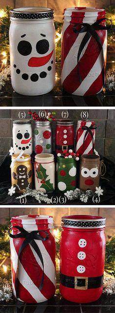 Christmas mason jars, Holiday mason jars, Snowman mason jar, Rudolph mason jar