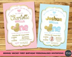 Mickey / Minnie Mouse Birthday Personalised Invitations by Lollipop Party Supplies. Printed or Digital, Shipped Worldwide! Baby Mickey, Mickey Mouse 1st Birthday, Mickey Party, Minnie Mouse Party, 1st Birthday Girls, Mouse Parties, First Birthday Parties, First Birthdays, Birthday Ideas