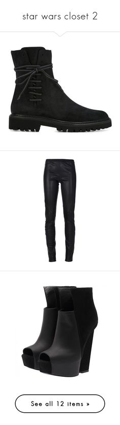 """""""star wars closet 2"""" by fandomsalways ❤ liked on Polyvore featuring shoes, boots, black, black shoes, a.f. vandevorst, side zipper boots, almond toe shoes, rubber sole boots, pants and leggings"""