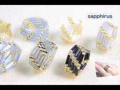 """Bugle beads aren't commonly used in rings. Sapphirus, a Japanese designer not only uses them but also creates contemporary pieces. In the first tutorial, the ring is beaded in a """"circular fashion"""". Diy Beaded Rings, Diy Rings, Beaded Earrings, Beaded Bracelets, Tutorial Anillo, Ring Tutorial, Bracelet Tutorial, Seed Bead Jewelry, Bead Jewellery"""