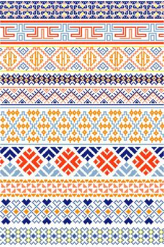 Ten decorative borders inspired by traditional Bhutanese textiles feature abstract designs in blues, oranges, and pinks. Great for edging