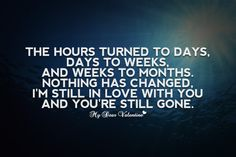 The hours turned to days, days to weeks, and weeks to months. Nothing has changed, I'm still in love with you and you're still gone.