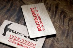 Contractor business card printed on maple wood veneer. Bodhi Graphic Design