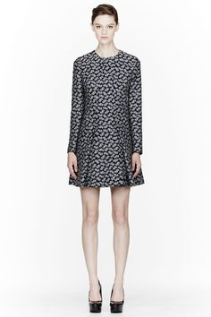 STELLA MCCARTNEY Navy Feather Flowers Jacquard Dress