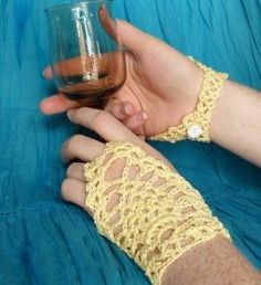 Sunshiny Fingerless Gloves Crochet Spot. Thanks Rachel!