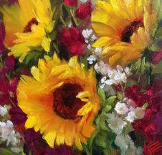 Sunflowers & Stock original fine art by Krista Eaton
