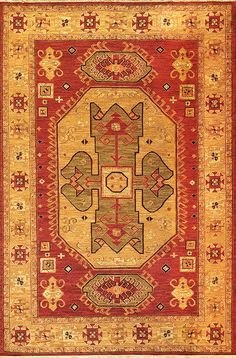 Heriz (brick/olive - Kazak design 8) by A Rug For All Reasons   This unique tribal design is faithful to the motifs of the original Caucasian carpets from which it's derived. It is a durable flatweave rug, created by a warp-wrapping process, and constructed in a very sturdy, hardwearing soumak weave from our Kazak collection.