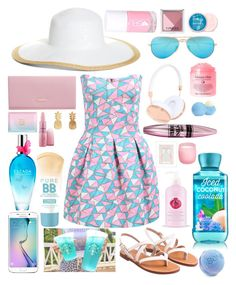 """""""^_~ """" by ornella-chavigny ❤ liked on Polyvore featuring DKNY, Ray-Ban, Samsung, Frends, Brooks Brothers, Shay, Vinca, Eos, Maybelline and Giambattista Valli"""