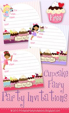Free Printable Cupcake Fairy Party Invitations -- Three Designs