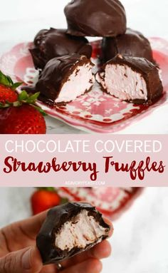 Chocolate Covered Strawberry Truffles Decadent homemade truffles are easy enough to whip up anytime! Chocolate Covered Strawberry Truffles are filled with a strawberry cream cheese mixture and c Dessert Oreo, Bon Dessert, Homemade Truffles, Homemade Candies, Lemon Truffles, Homemade Chocolates, Coconut Truffles, Homemade Sweets, Pumpkin Truffles