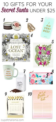 10 Gifts for Your Secret Santa Under $25. A great guide for coworkers and friends.