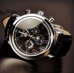 Image of Fashion Day Night Men's Vintage Wrist Watch (WAT0102-BLACK)