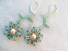 Beadwork Earrings  Handmade OOAK Swarovski Pearl, Flower & Vine by BohemianIce, $24.00