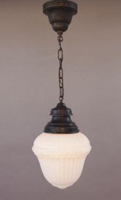 Milk Glass Pendant - Classic Design, School House Light, Lamp, Lantern - NEW Decorating Ideas - via Centophobe Interior Lighting, Home Lighting, Kitchen Lighting, Lighting Ideas, Hallway Lighting, Cabinet Lighting, Glass Pendant Light, Glass Pendants, Vintage Industrial Lighting