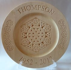12 inch rim plate, 60th anniversary, chip carved