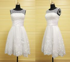Charming short homecoming dress with pearlstulle by DressPerfect